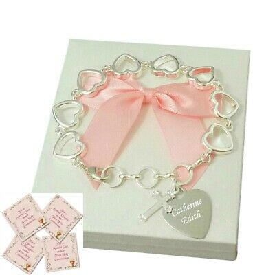 Engraved Gift For A Girls First Holy Communion Day, Personalised Bracelet, New! • 19.99£