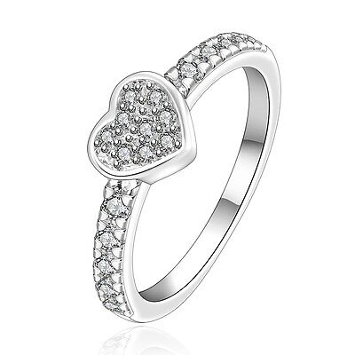 Silver Clear Stones Pave Luxury Ladies Rings Diamater 17 Mm Size Ring O FR248 • 5.49£