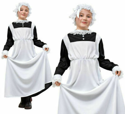 £9 • Buy Childrens Kids Victorian Maid Fancy Dress Costume Childs Servant Outfit Large