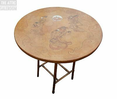 £160 • Buy Stunning Antique Oriental Japanese Bamboo & Leather Figural Side End Lamp Table
