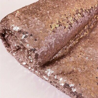 £7.45 • Buy Rose Gold Sequin Fabric Sparkly Shing Bling Material Cloth 150 Cm Wide BY METER