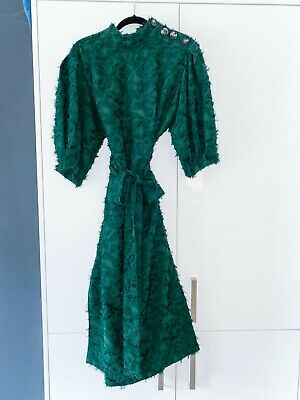 $23.62 • Buy Zara Green Puff Sleeve Dress With Self Tie Belt Size XL