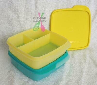 AU29.65 • Buy Tupperware Sandwich Keeper Small Divided Lunch Box - Light Blue & Yellow- New
