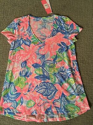 $24 • Buy Lilly Pulitzer Etta V-neck Top Havana Cocktail NWT Small S