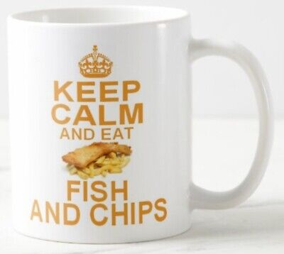 KEEP CALM AND EAT FISH & CHIPS ~ MUG Takeaway Take Away Ready Meal Carry On Mugs • 8.49£