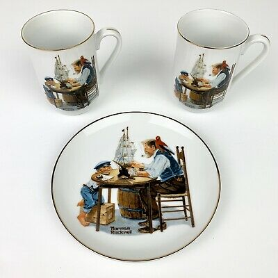 $ CDN27.59 • Buy Norman Rockwell Museum For A Good Boy 2 Mugs & Collector Plate Set 1982 & 1984