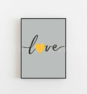 £5.55 • Buy Quote Love Heart Mustard Print Poster Bedroom Living Room Wall Decor Fashion Art