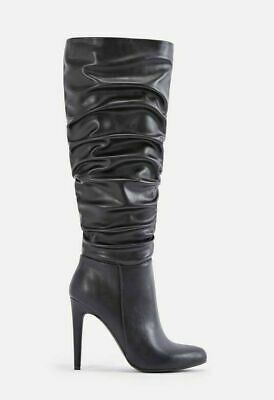 $ CDN39.67 • Buy Romi By JUSTFABULOUS, Black Ruched Faux Leather Dominatrix Knee Boots SZ 8