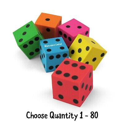 Dice Erasers Mini Novelty Bright Coloured Rubbers Stationery Party Bags Birthday • 1.99£