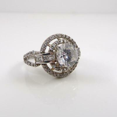 $60.01 • Buy Charles Winston Sterling Silver CZ Halo Cocktail Modernist Ring Size 7 LHA4