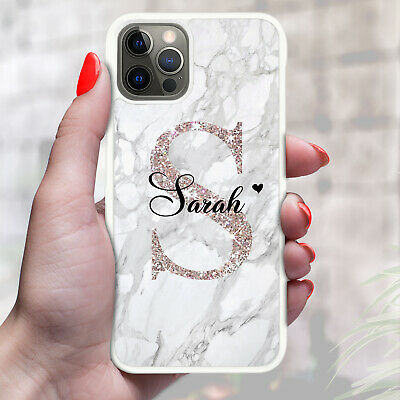 Personalised Marble Phone Case Cover For Apple Samsung Initial Name - Ref 06 • 6.90£