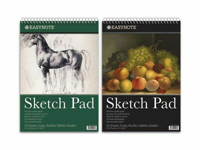 3 X Easynote A3 Spiral Sketch Pad - 20 Sheets Premium Quality 170gsm White Paper • 9.99£
