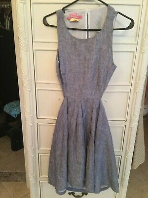$39.99 • Buy Island Company Chambray Fully Lined 100% Linen Cut-out Back Dress Sz 2