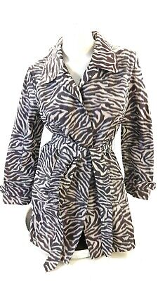 Additions Chicos Women's Grey And White Zebra Print Belted Long Jacket Size 1 • 23.04£