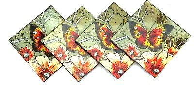 Butterfly Glass Coasters Autumn Colours • 11.99£