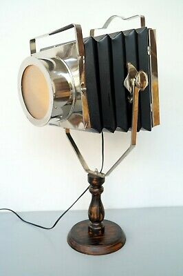 Vintage Camera Old Time Projector Table Lamp Wooden Stand Antique Replica Decor • 59.99£