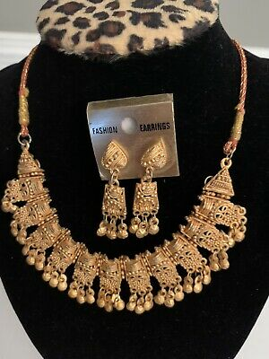 $19.99 • Buy NEW Bollywood Indian Necklace Earrings Jewelry Set Gold Plated Wedding Party