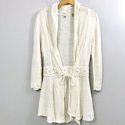 $ CDN38.38 • Buy Anthropologie Knitted & Knotted Open Cardigan Sweater Sz M Tie Front Cream Beige