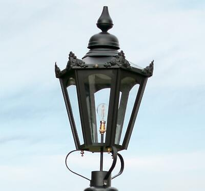 87cm Large Black Hexagonal Victorian Style Lantern Or Replacement Lamp Post Top • 250£