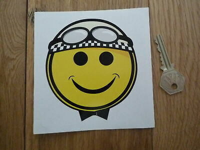 Smiley Face Crash Helmet Cheeky Chappy Racing Driver Race Car Bike Sticker 4  • 3.15£