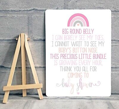 A5 Boy Girl Baby Shower Thank You For Coming Table Sign Decoration - RAINBOW • 6.95£
