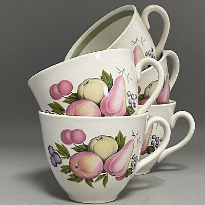 Set Of 5 1980s Ridgway English Pottery Traditional Country Fruit Tea Cups • 12£