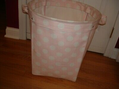 $25 • Buy Pottery Barn Kids Large Pink W/White Dots Canvas Toys Laundry Tote Bin