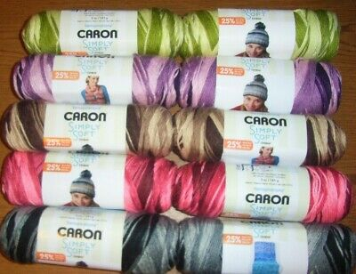 $13.99 • Buy Lot Of 2 Skeins, Caron Simply Soft Ombre Yarn, 5 Oz Each, You Choose Color