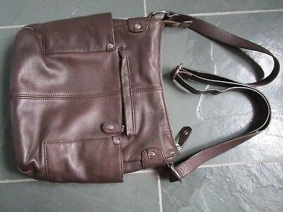 $ CDN60 • Buy DANIER Brown Genuine Pebbled Leather Shoulder Crossbody Bag Purse