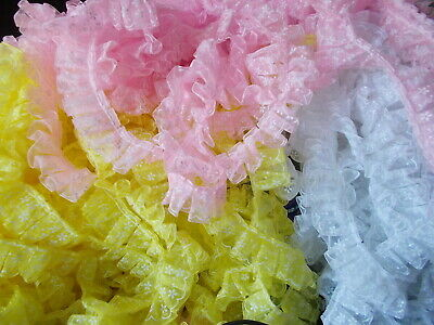 Pleat Gathered Flower Pattern Organza Ribbon  Lace Trim -choose White Or Pink • 1.99£