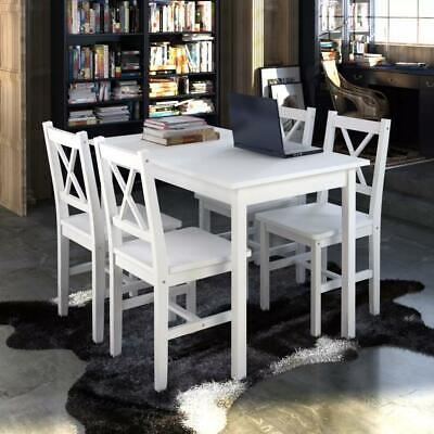 AU295 • Buy 5 Piece Solid Wooden Dining Dinner Breakfast Table And Seat Chairs Set - White