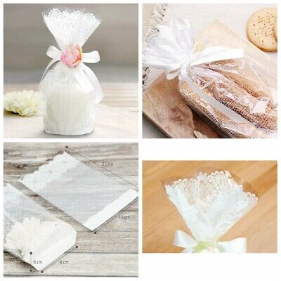 50Pcs Lace Cellophane Wedding Party Favour Sweet Biscuit Cupcake Gift Bags White • 5.79£