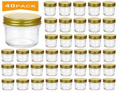 $49.99 • Buy 40 Pack- 4 Oz Clear Glass Jars With Lids(Golden),Small Spice Jars For Herb,Jelly