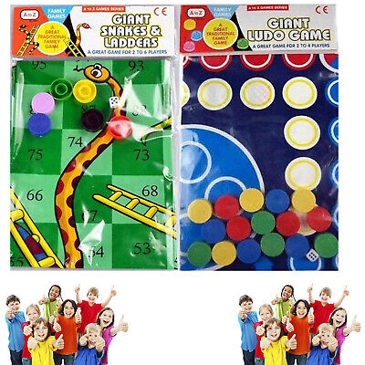 Traditional Giant Ludo And Snakes & Ladders Family Game Gift  Play Mat Indoors A • 13.90£