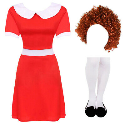 Ladies Little Orphan Fancy Dress Costume World Book Day Film Musical Character • 13.99£