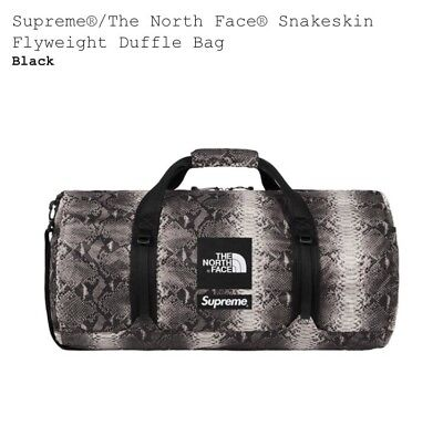 $ CDN335.19 • Buy SUPREME X THE NORTH FACE SNAKESKIN BLACK FLYWEIGHT DUFFLE BAG NEW SS18 TNF Bogo