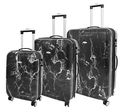 Four Wheels Hard Shell Marble Print Suitcase TSA Lock Travel Luggage • 58.49£