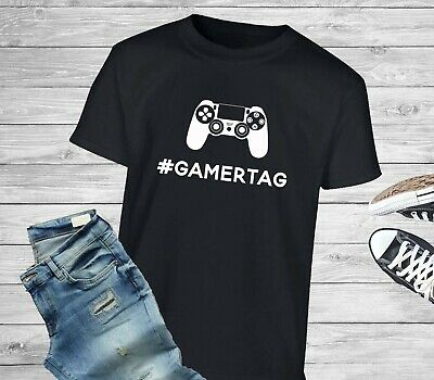$ CDN19.08 • Buy Personalised Gamer Tag Username PS Style Controller Video Game T-Shirt/Tee Gift