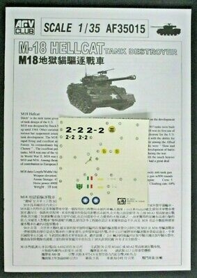 $8.19 • Buy AFV Club 1/35 Scale US M18 Hellcat Decals & Directions From Kit No. 35015