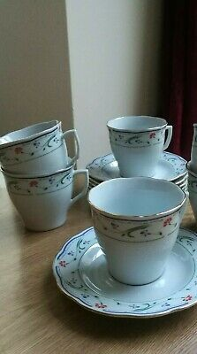 £9.50 • Buy Crown Dynasty 4 X Cups & Saucers Red Blue Green Floral Gold Trim Scalloped Edge