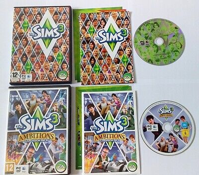 The Sims 3 & Ambitions Exp - PC DVD Rom Windows Or MAC **VGC** • 9.95£