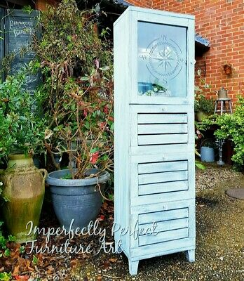 Shabby Chic Tall Bathroom Storage Cabinet Cupboard Painted Annie Sloan Turquoise • 135£