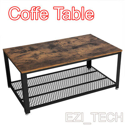 New Wooden Coffee Table Retro Industrial Style Side 2-Tier  Desk Living Room UK • 54.99£
