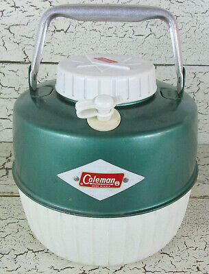 $30 • Buy Coleman Camping Green WATER JUG Gallon Cooler Spout Diamond Vintage USA