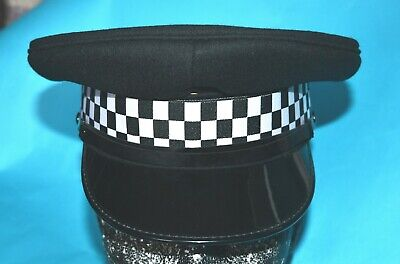 £24 • Buy Ex-police Cap With Peak And Checkered Cap Band: For Collector Or Theatre Use.