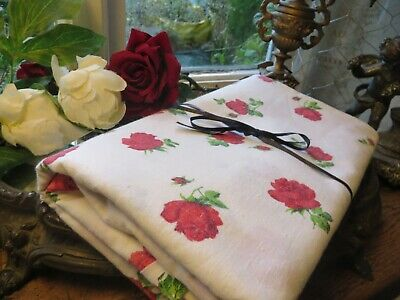 Charming Vintage French Cotton Rose Bud Table Cloth ~ Country Cottage • 19.99£