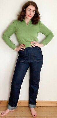 £45 • Buy Freddies Of Pinewood Blue Texsuns Ladies Jeans 1950s 50s  Check Size Chart!
