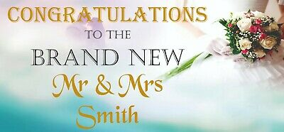 2 PERSONALISED Congratulations Wedding Banners Party Decorations Mr & Mrs 003 • 5.95£