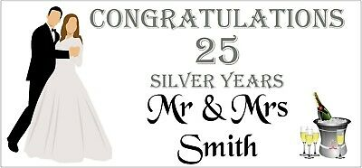 2 PERSONALISED 25th Silver Wedding Anniversary Banners Party Decorations 003 • 5.95£