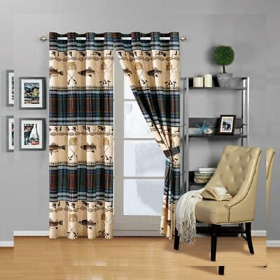 River Fly Fishing Themed Rustic Cabin Lodge Window Treatment Curtain Set  • 41.67£